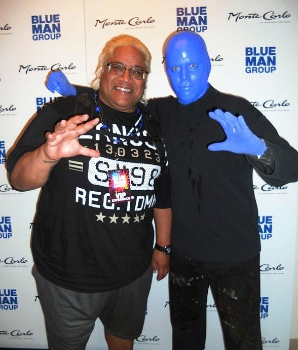 WWE Hall of Fame Wrestler Rikishi visits Blue Man Group at Monte Carlo Resort