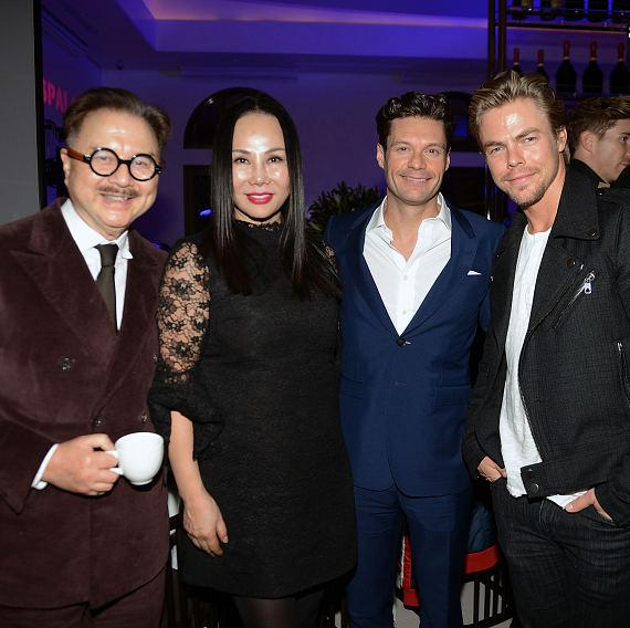 "Michael Chow. Eva Chun Chow, Ryan Seacrest and Derek Hough arrive at Mr Chow Caesars Palace following the debut of ""Jennifer Lopez: All I Have"""