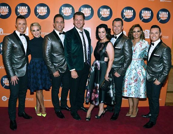 Andrew Tierney, Heather Tierney, Toby Allen, Darren Weller, Justine Burton, Phil Burton, Andrea Tierney and Michael Tierney arrive at the launch of Human Nature's new show 'Jukebox' at The Venetian Las Vegas