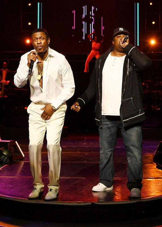 Keith Sweat (L) and Eric B. (R) perform at the opening night of 'Keith Sweat: Last Forever' at the Flamingo Las Vegas on January 17, 2017 in Las Vegas