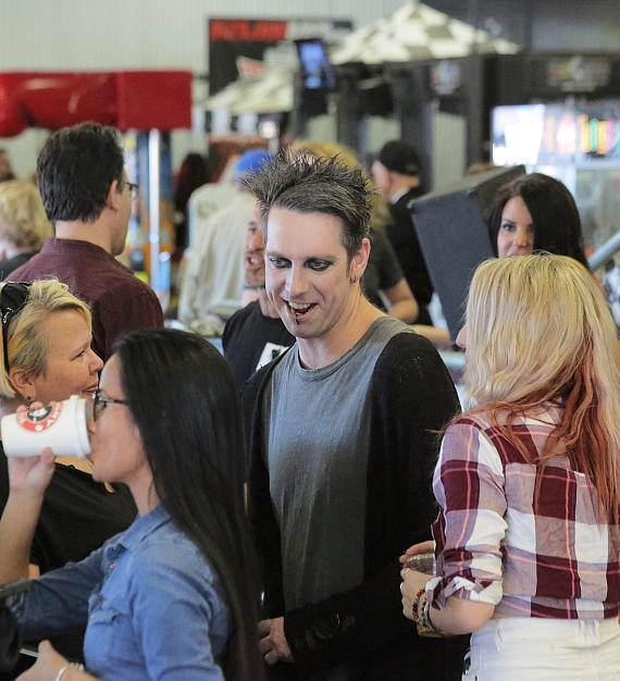 Mime/Comedian Tape Face mingles with veterans and other guests at the Mike Hammer Celebrity Go-Kart Race