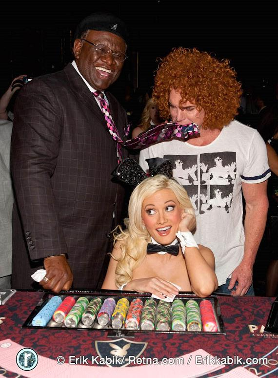 Holly Madison with George Wallace and Carrot Top at Playboy Club