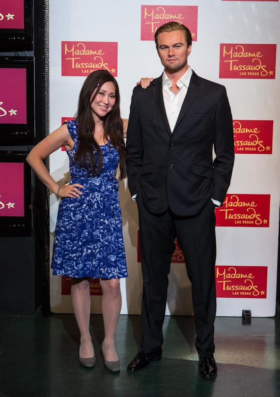 Guest with Leonardo DiCaprio wax figure at Madame Tussauds Las Vegas