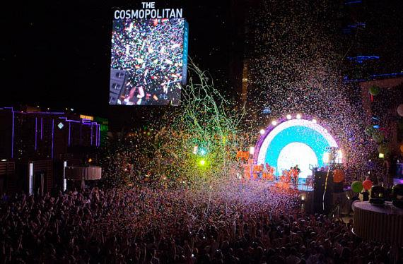 The Flaming Lips perform their signature spectacle of a show at The Boulevard Pool at The Cosmopolitan of Las Vegas