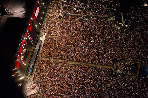 The Scene from high above Electric Daisy Carnival on Day 3 during Swedish House Mafia Set