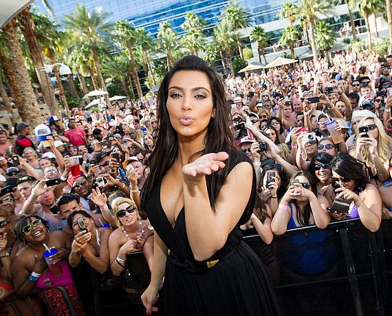 Kim Kardashian with crowd at REHAB Sundays at Hard Rock Hotel & Casino