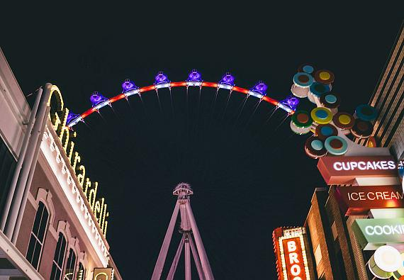 The High Roller was lit red, white and blue in celebration of 4th of July weekend with special July 4 packages were offered at the High Roller box office.