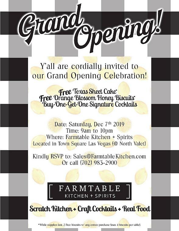 Farmtable Kitchen + Spirits Celebrates with All-Day Grand Opening at Town Square, Saturday, Dec. 7