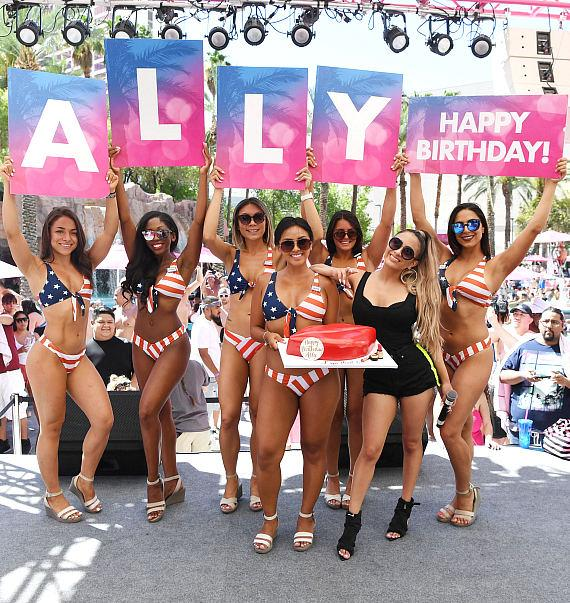 Ally Brooke with birthday cake at Flamingo Las Vegas' Go Pool Dayclub on Independence Day Weekend