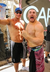 New England Patriots Rob Gronkowski and WWE Mojo Rawley Party at Rehab Beach Club at Hard Rock Hotel & Casino Las Vegas