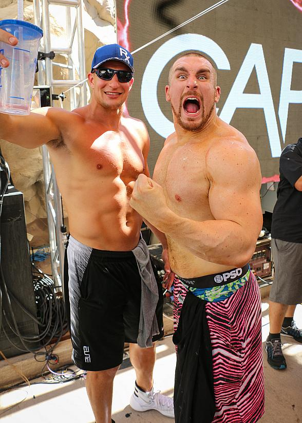Rob Gronkowski and Mojo Rawley Party at Rehab Beach Club at Hard Rock Hotel & Casino Las Vegas