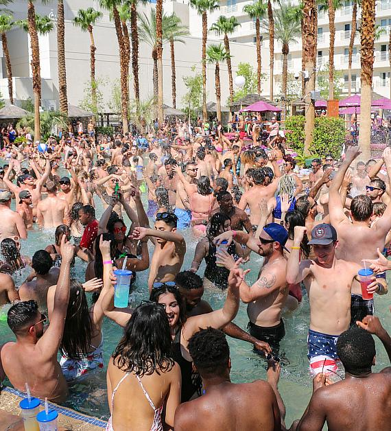 Guests in the pool at Rehab Beach Club at Hard Rock Hotel & Casino Las Vegas