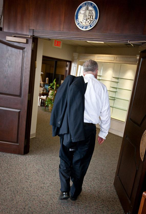 Mr. Goodman makes his exit from the Mayors office as a civilian