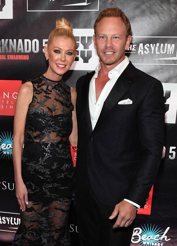 Ian Ziering, Tara Reid, Cassie Scerbo and Masiela Lusha at Sharknado 5 Premiere at the Mat Franco Theater at The LINQ Hotel & Casino Las Vegas