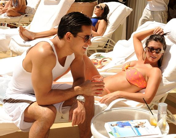 Mario Lopez with girlfriend Courtney Mazza at AZURE