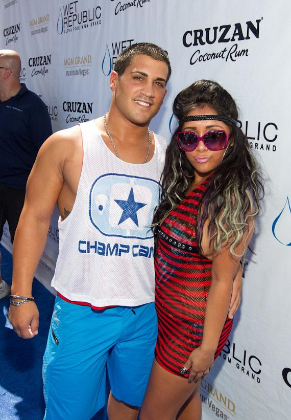 """Jionni LaValle and Nicole """"Snooki"""" Polizzi of Jersey Shore at Wet Republic"""