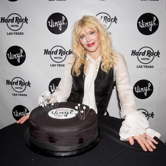 Courtney Love with cake at Vinyl at Hard Rock Hotel in Las Vegas