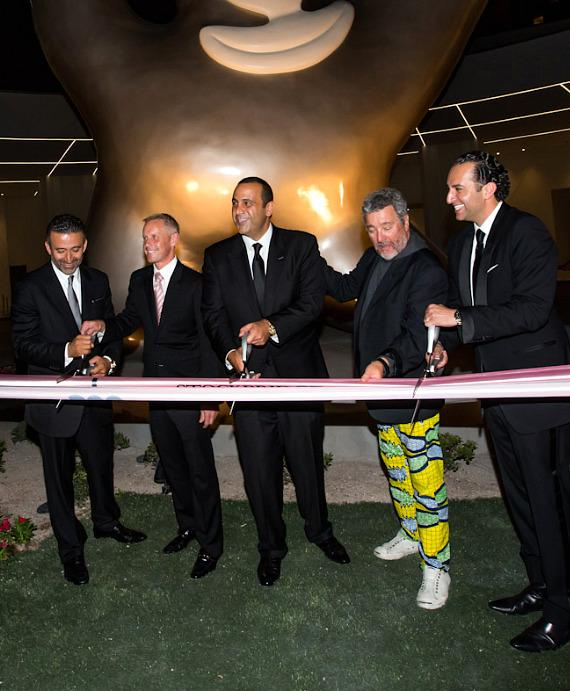 Ribbon cutting ceremony with Arash Azarbarzin, President, sbe Hotel Group and Rob Oseland, President and COO of SLS Las Vegas and Sam Nazarian, Founder, Chairman and Philippe Starck, design icon and Creative Director of SLS Las Vegas consulting through Gensler and CEO, sbe and Sam Bakhshandehpour, President, sbe