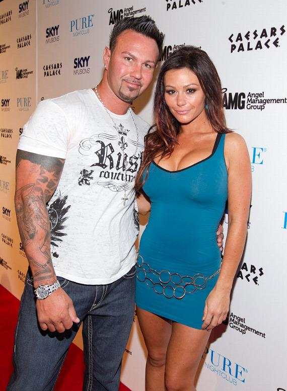 "'Jersey Shore' star Jenni ""JWoww"" Farley and boyfriend Roger Matthews at PURE Nightclub"