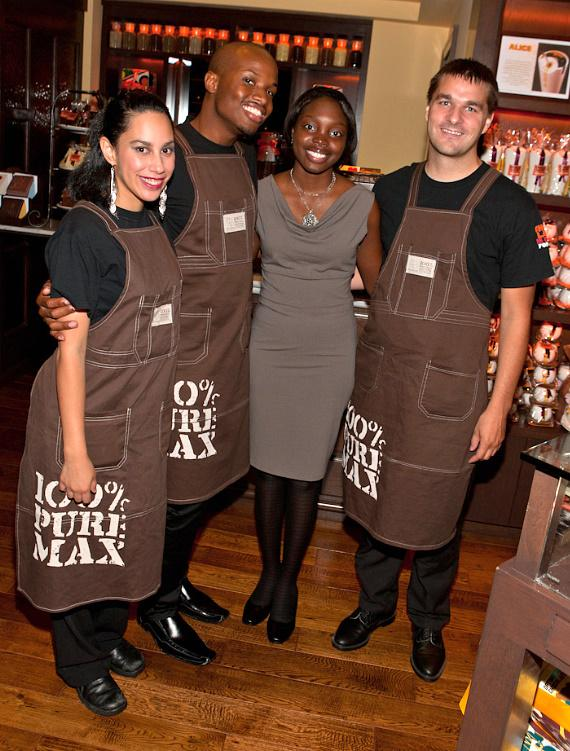 Associates in Max Brenners chocolate shop