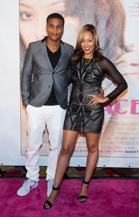 """Actor Cory Hardrict and wife Tia Mowry-Hardrict, at """"Lovelace"""" Premiere in Planet Hollywood Las Vegas"""