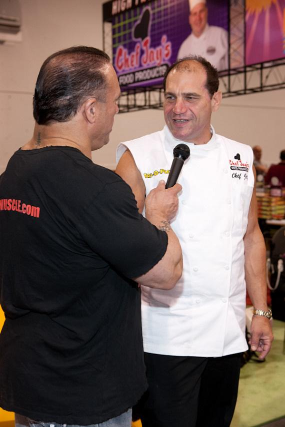 Chef Jay is interviewed during Joe Weider's 2009 Olympia Weekend