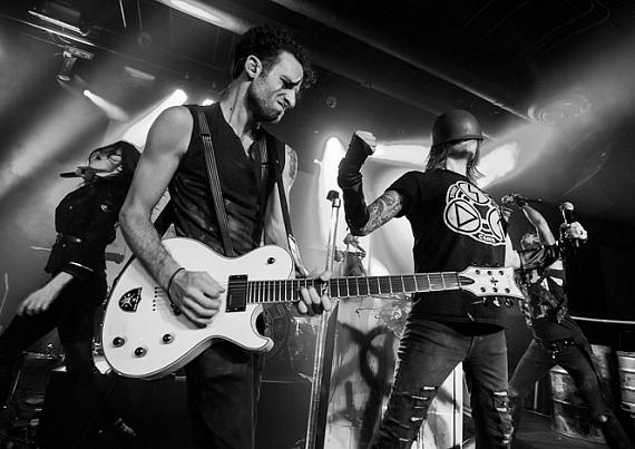 Tommy Lee and Shannon Larkin perform with Street Drum Corps at Vinyl in Hard Rock Las Vegas