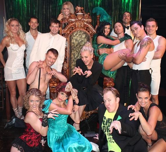 Kaley Cuoco with cast of ABSINTHE