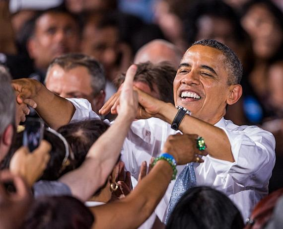 President Barack Obama after his speech at Desert Pines High School in Las Vegas