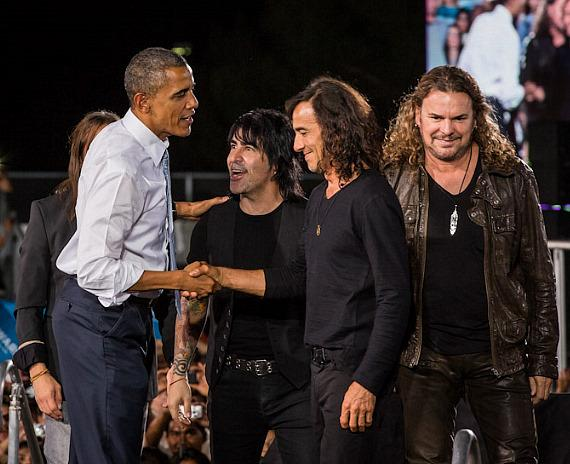 President Barack Obama meets Mexican rock band Maná who performed at the event