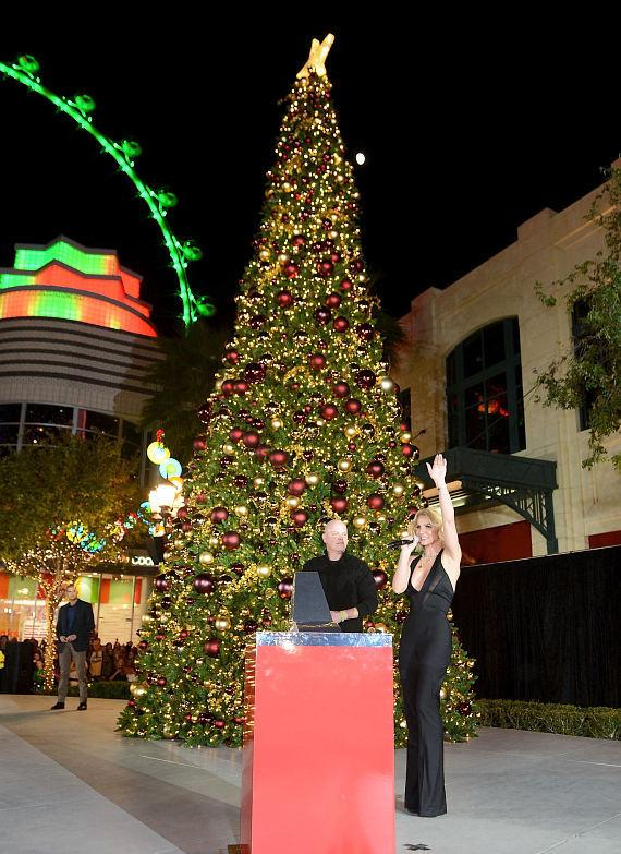 Planet Hollywood Resort & Casino Headliner Britney Spears Lights The Holiday Tree at The LINQ Promenade in Las Vegas.