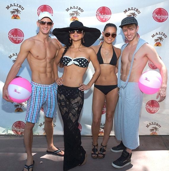 Absinthe cast at GO Pool - Misha Furmanczyk, Melody Sweets, Genevieve Landry and Maxime Clabaut