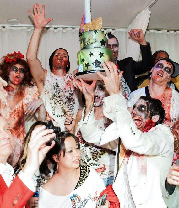 Absinthe cast zombies with 1000th Show Cake