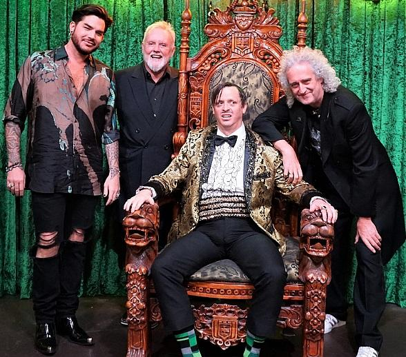 Adam Lambert and Queen's Roger Taylor, Brian May Attend ABSINTHE at Caesars Palace Las Vegas