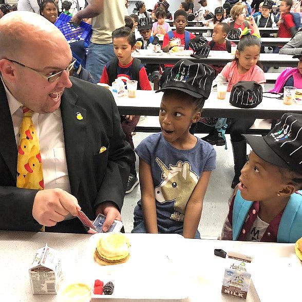 Adam London Presents Charitable Donation to 'Chefs for Kids' and Performs at Whitney Elementary School