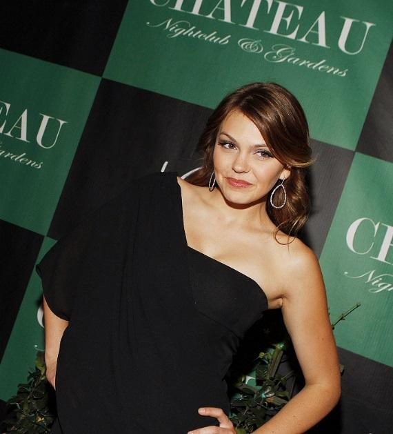 Aimee Teegarden on Chateau Gardens red carpet