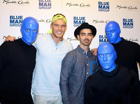 Joe Jonas and Alan Ritchson at Blue Man Group Las Vegas at Monte Carlo Resort and Casino