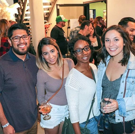 Alberto Castro, Priscilla Corona, Gabby Rivera, Jordan Swanner enjoying cocktails at Chuba Hut
