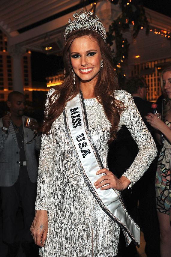 Alyssa Campanella on the Chateau Terrace at Paris Las Vegas after winning Miss USA 2011
