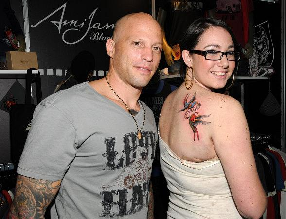 Ami James with Ashlyn Crone at Ami James Black Label booth at MAGIC