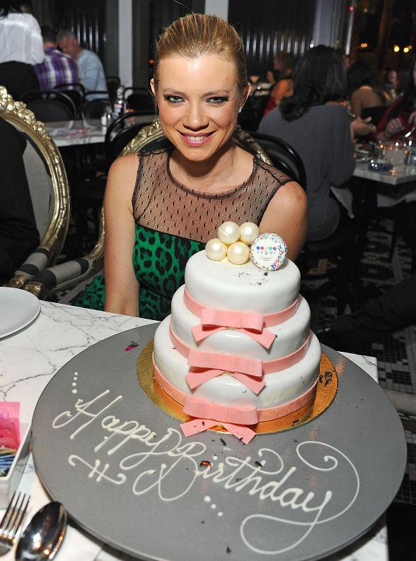 Amy Smart with birthday cake at Sugar Factory American Brasserie at Paris Las Vegas