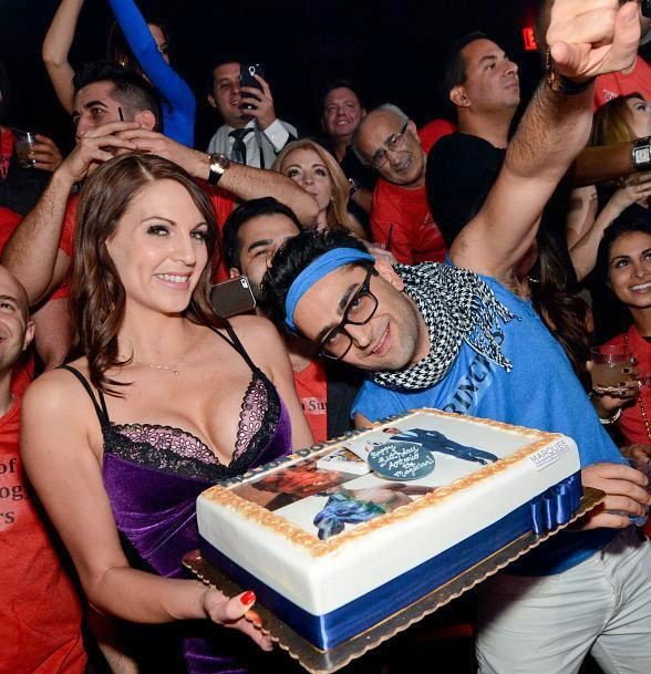 Antonio Esfandiari with birthday cake at Marquee