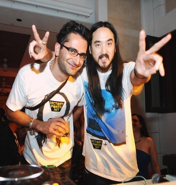 Poker Pro Antonio Esfindiari with DJ Steve Aoki at Surrender