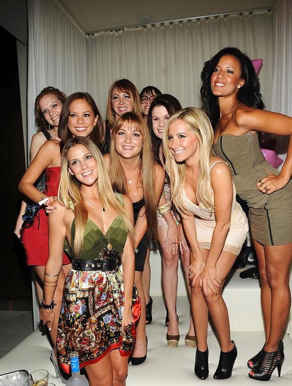 Ashley Tisdale and friends at PURE Nightclub