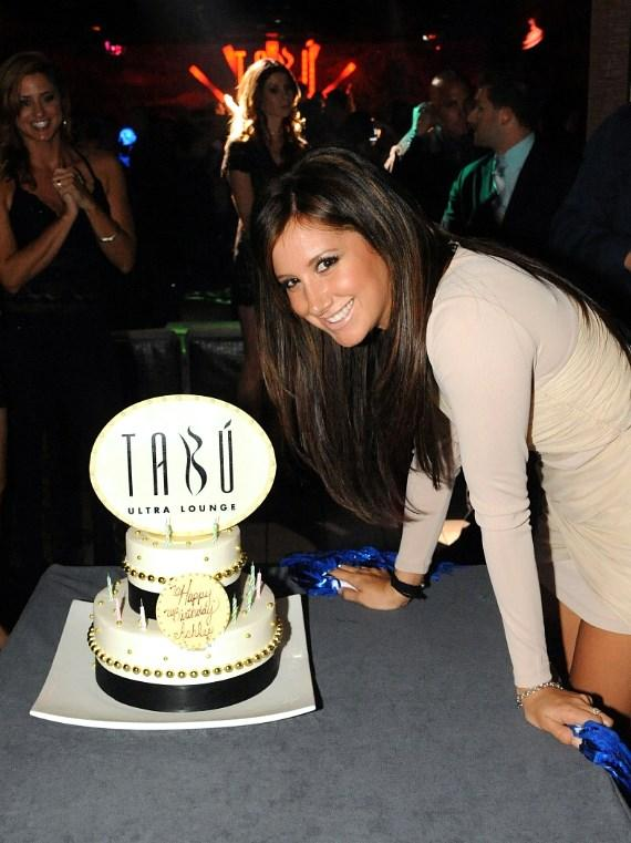 Ashley Tisdale with Birthday Cake at Tabu Ultra Lounge