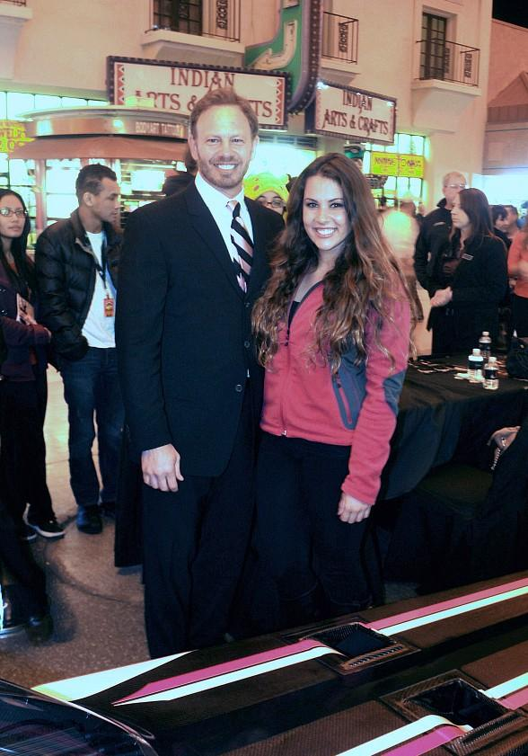 Actor Ian Ziering and Dragster Rookie Ashley Sanford at the D Las Vegas
