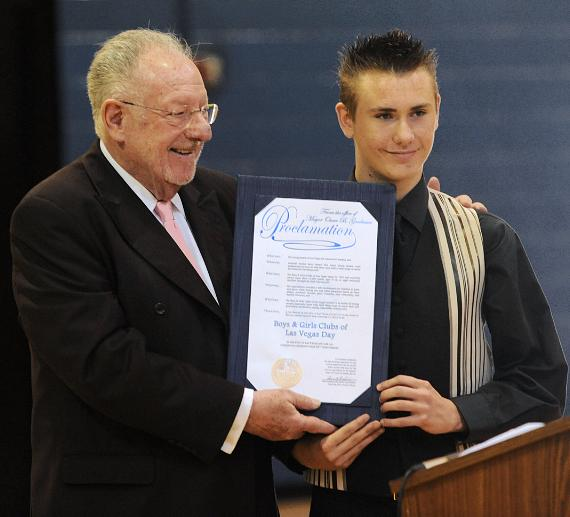 City of Las Vegas Mayor Oscar Goodman and Austin Steep, Agassi teen member with proclamation