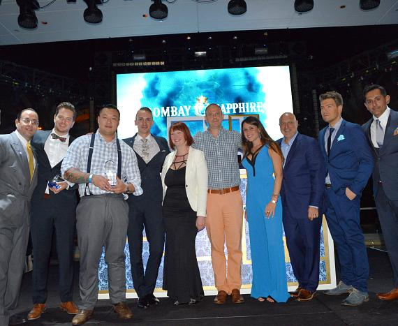 From left -- Top 5 Finalists: Miami's Philip Khandehrish, Toronto's Robin Kaufman, MIB 2014 Winner: Boston's Ran Duan, Austin's Justin Lavenue and Denver's Tacy Rowland; VP Bombay Sapphire Gin, Ned Duggan; Bombay Sapphire Senior Brand Manager, Victoria Perez; Top Chef's Tom Colicchio; Bombay Sapphire National Brand Ambassador, Gary Hayward; Bombay Sapphire Global Brand Ambassador, Raj Nagra