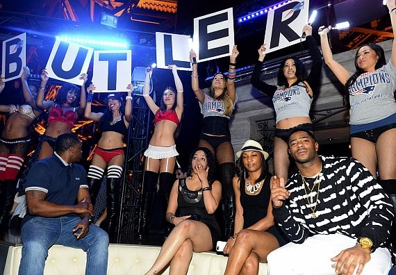 New England Patriots' Malcom Butler (on right) inside Chateau Nightclub in Las Vegas