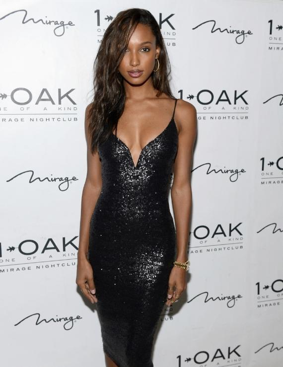 Model Jasmine Tookes arrives at Josephine Skriver's birthday celebration at 1 OAK Nightclub at The Mirage Hotel & Casino